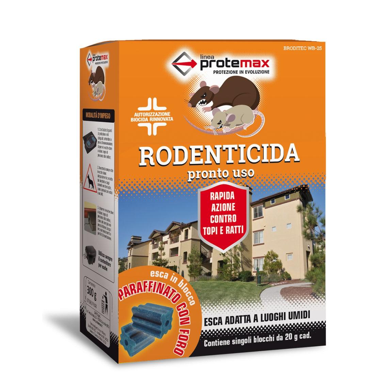 Protemax Rodenticida Blocco Paraffinato Bf Con Foro Astuccio 300 gr
